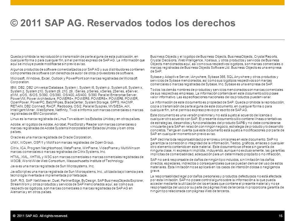 ©2011 SAP AG. All rights reserved.15 Queda prohibida la reproducción o transmisión de parte alguna de esta publicación, en cualquier forma o para cual