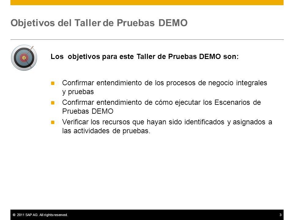 ©2011 SAP AG. All rights reserved.3 Objetivos del Taller de Pruebas DEMO Los objetivos para este Taller de Pruebas DEMO son: Confirmar entendimiento d