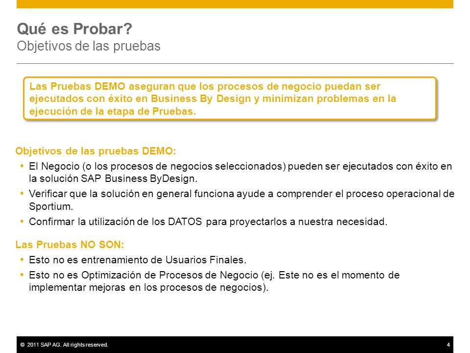 ©2011 SAP AG. All rights reserved.4 Qué es Probar? Objetivos de las pruebas Objetivos de las pruebas DEMO: El Negocio (o los procesos de negocios sele