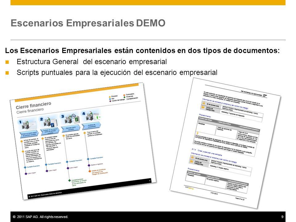 ©2011 SAP AG. All rights reserved.9 Escenarios Empresariales DEMO Los Escenarios Empresariales están contenidos en dos tipos de documentos: Estructura