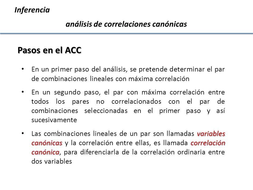 Inferencia análisis de correlaciones canónicas Pasos en el ACC En un primer paso del análisis, se pretende determinar el par de combinaciones lineales