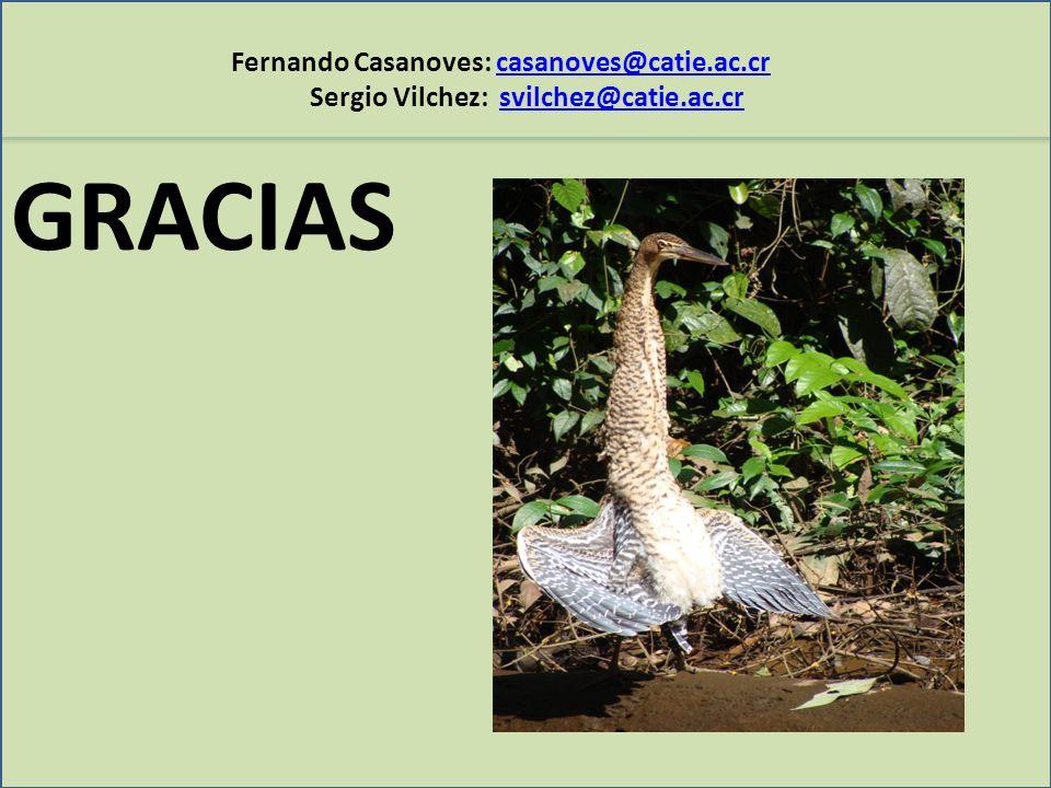 Fernando Casanoves: casanoves@catie.ac.crcasanoves@catie.ac.cr Sergio Vilchez: svilchez@catie.ac.crsvilchez@catie.ac.cr GRACIAS