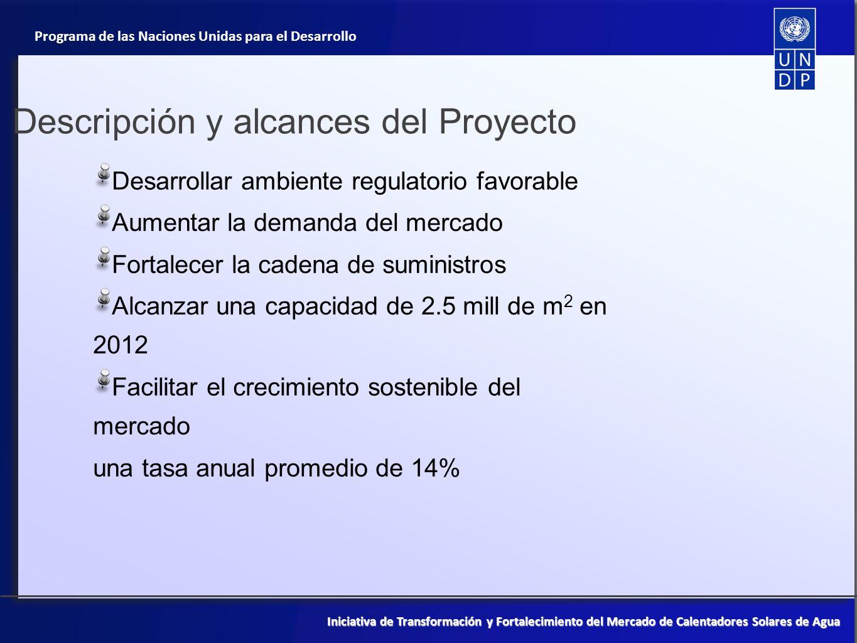 Programa de las Naciones Unidas para el Desarrollo Iniciativa de Transformación y Fortalecimiento del Mercado de Calentadores Solares de Agua Control y seguimiento del proyecto Tipo de actividad de M&EPartes responsablesPlazos APR y PIR Equipo de proyecto, PNUD-MX,FMAM y, cuando proceda, PNUD/FMAM Anualmente Examen interno del proyecto y su informe Equipo de proyecto, contrapartes del gobierno, PNUD CO, FMAM, y, cuando proceda, PNUD-FMAM Cada año, a partir de la recepción del APR Reuniones del Comité directivo Jefe de proyecto, PNUD CO Cada tres meses Informes de estatus periódicosEquipo de proyectoCada tres meses