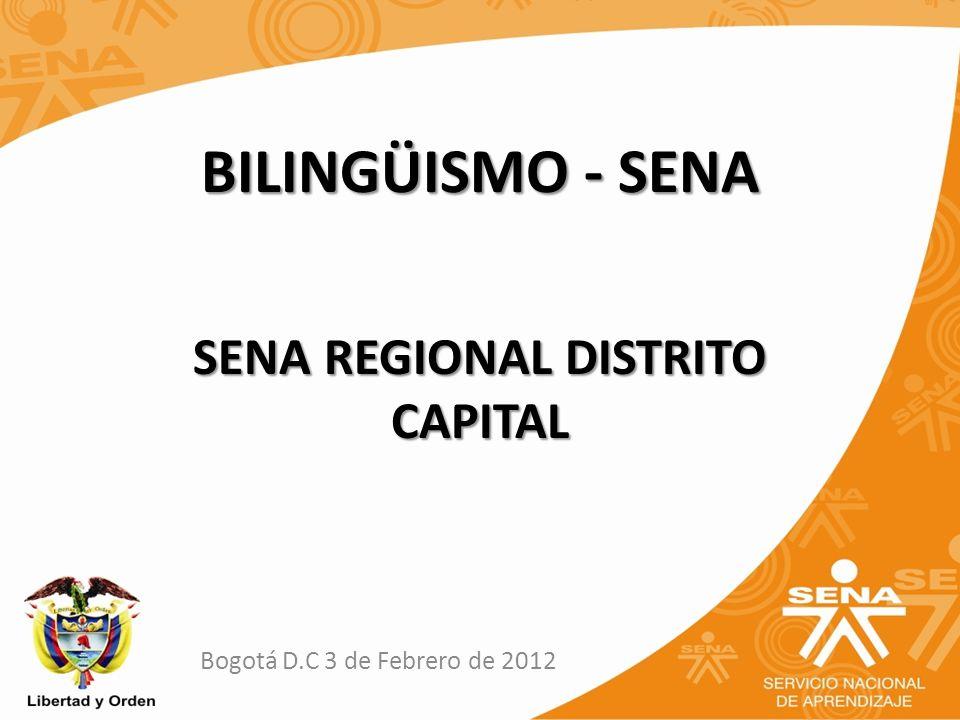 BILINGÜISMO - SENA Bogotá D.C 3 de Febrero de 2012 SENA REGIONAL DISTRITO CAPITAL