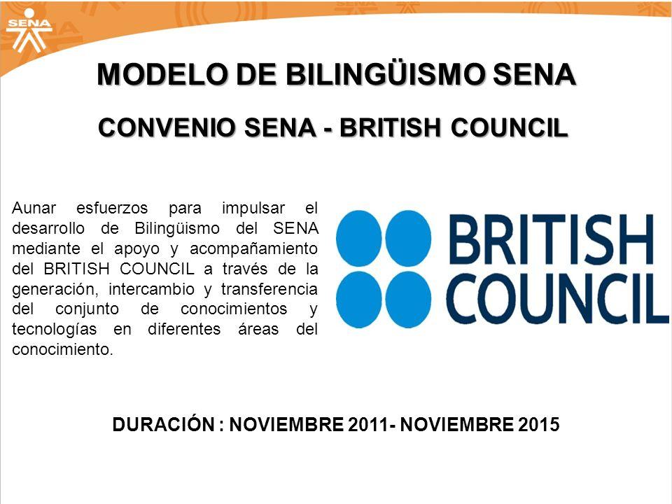 MODELO DE BILINGÜISMO SENA CONVENIO SENA - BRITISH COUNCIL Aunar esfuerzos para impulsar el desarrollo de Bilingüismo del SENA mediante el apoyo y aco