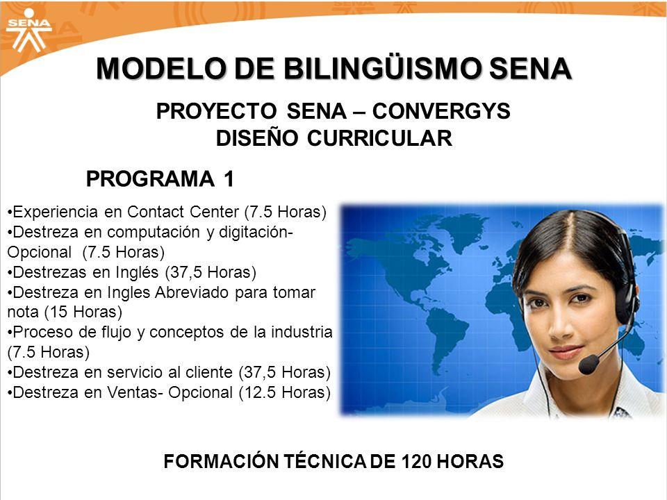 MODELO DE BILINGÜISMO SENA PROYECTO SENA – CONVERGYS DISEÑO CURRICULAR Experiencia en Contact Center (7.5 Horas) Destreza en computación y digitación-