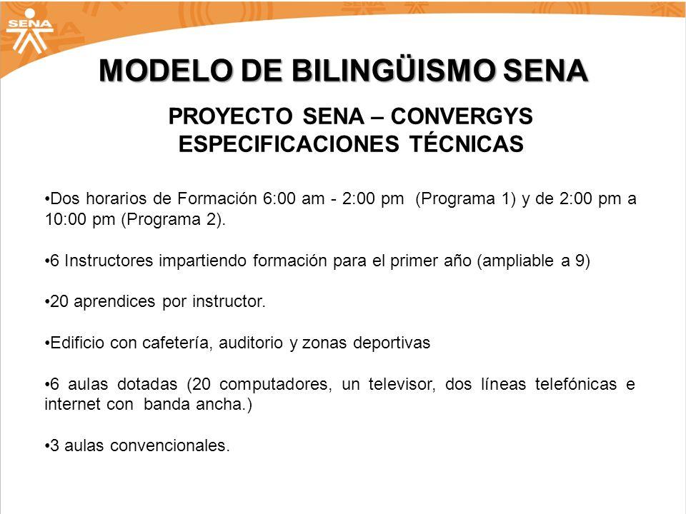 MODELO DE BILINGÜISMO SENA PROYECTO SENA – CONVERGYS ESPECIFICACIONES TÉCNICAS Dos horarios de Formación 6:00 am - 2:00 pm (Programa 1) y de 2:00 pm a