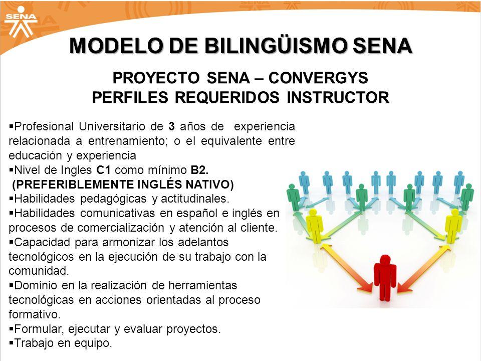 MODELO DE BILINGÜISMO SENA PROYECTO SENA – CONVERGYS PERFILES REQUERIDOS INSTRUCTOR Profesional Universitario de 3 años de experiencia relacionada a e