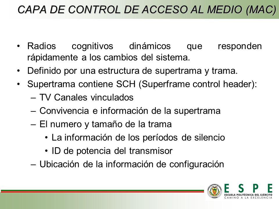 CAPA DE CONTROL DE ACCESO AL MEDIO (MAC) Radios cognitivos dinámicos que responden rápidamente a los cambios del sistema.