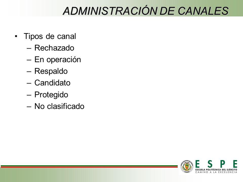 ADMINISTRACIÓN DE CANALES Tipos de canal –Rechazado –En operación –Respaldo –Candidato –Protegido –No clasificado