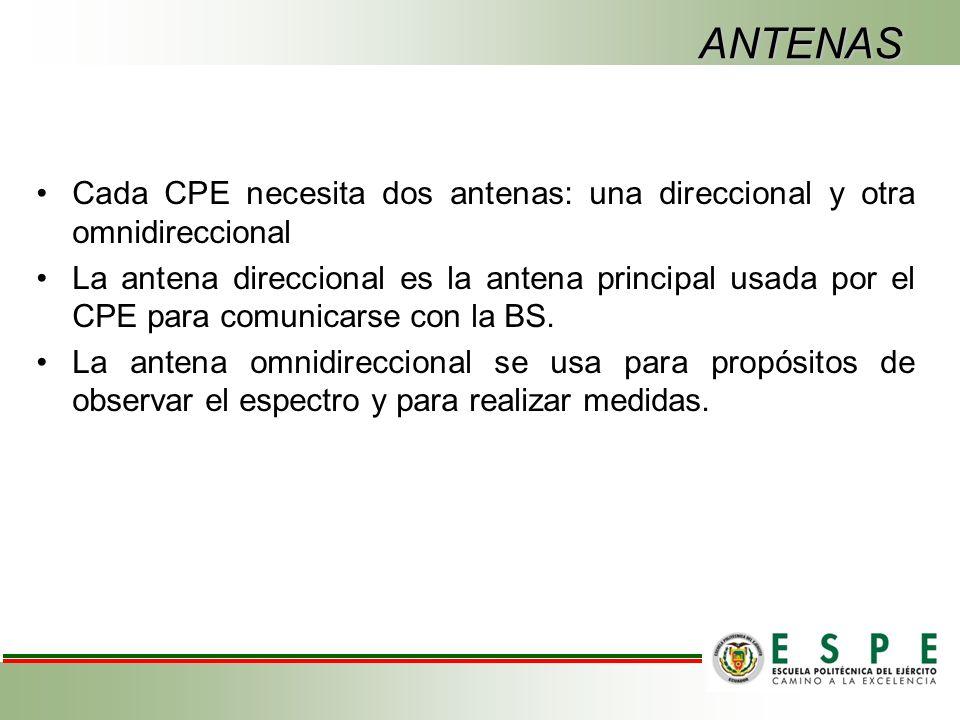 ANTENAS Cada CPE necesita dos antenas: una direccional y otra omnidireccional La antena direccional es la antena principal usada por el CPE para comunicarse con la BS.