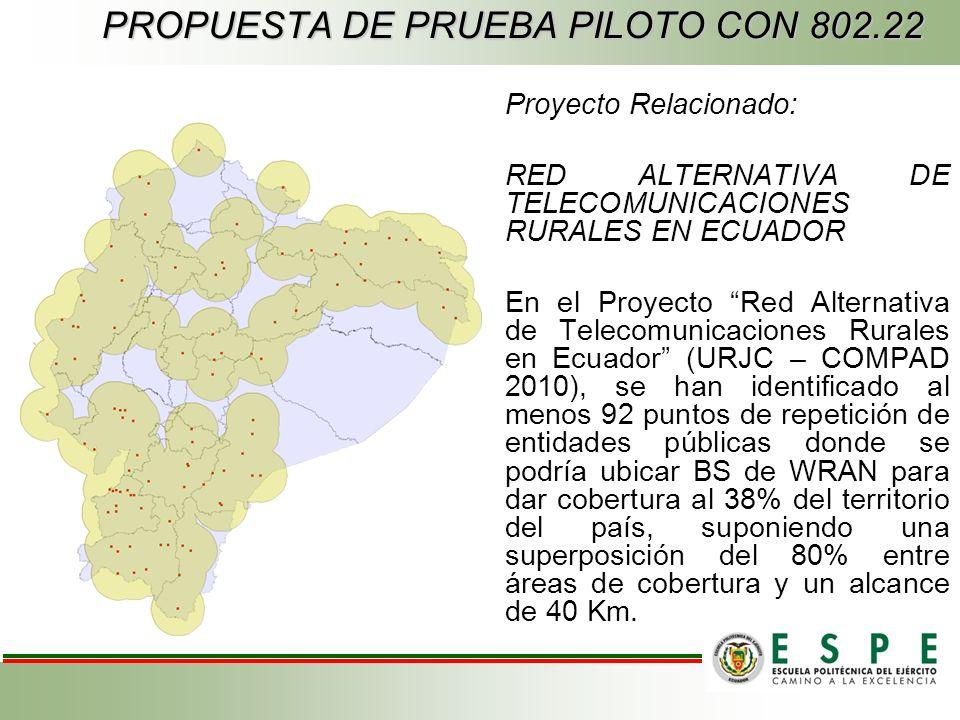 Proyecto Relacionado: RED ALTERNATIVA DE TELECOMUNICACIONES RURALES EN ECUADOR En el Proyecto Red Alternativa de Telecomunicaciones Rurales en Ecuador (URJC – COMPAD 2010), se han identificado al menos 92 puntos de repetición de entidades públicas donde se podría ubicar BS de WRAN para dar cobertura al 38% del territorio del país, suponiendo una superposición del 80% entre áreas de cobertura y un alcance de 40 Km.