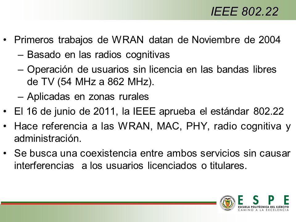IEEE 802.22 Primeros trabajos de WRAN datan de Noviembre de 2004 –Basado en las radios cognitivas –Operación de usuarios sin licencia en las bandas libres de TV (54 MHz a 862 MHz).