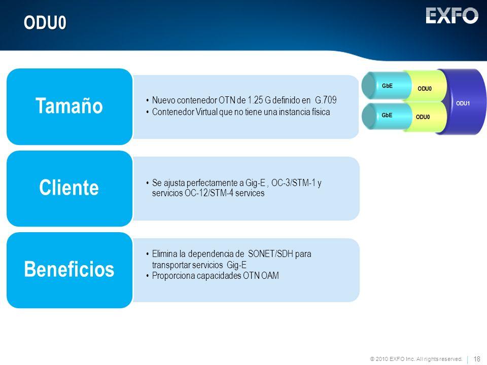 18 © 2010 EXFO Inc. All rights reserved. ODU0 Nuevo contenedor OTN de 1.25 G definido en G.709 Contenedor Virtual que no tiene una instancia física Ta