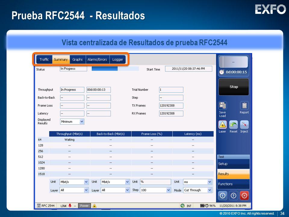 34 © 2010 EXFO Inc. All rights reserved. 34 © 2010 EXFO Inc. All rights reserved. Prueba RFC2544 - Resultados Vista centralizada de Resultados de prue