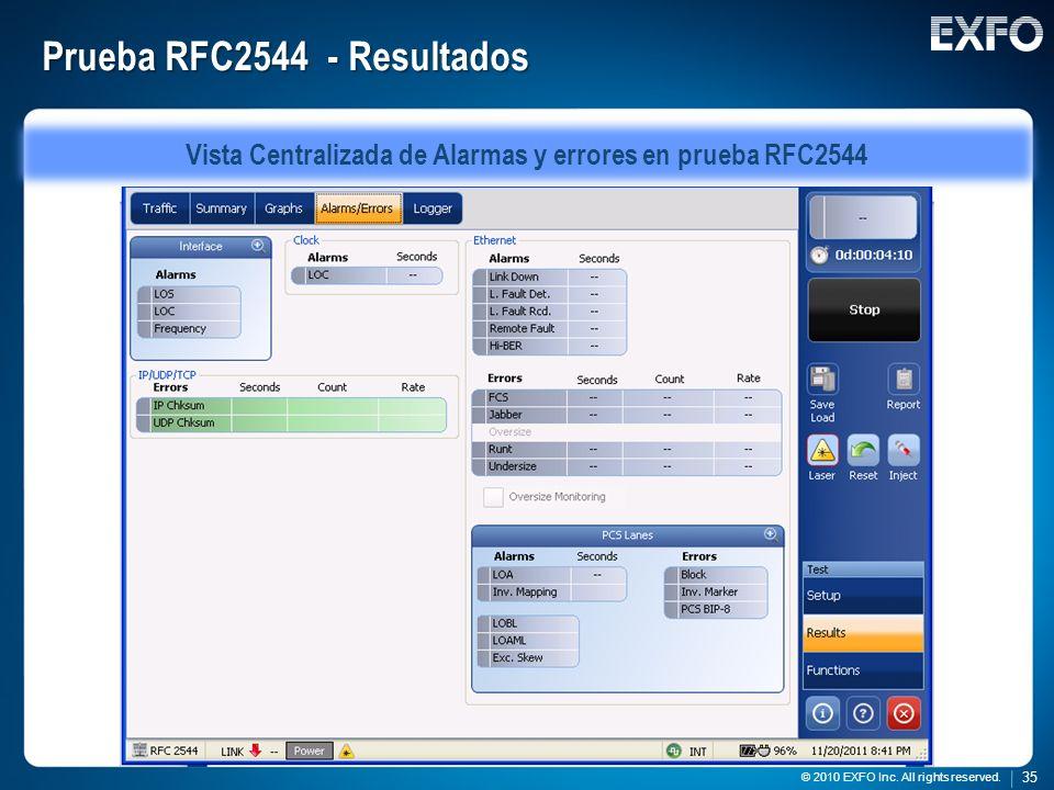 35 © 2010 EXFO Inc. All rights reserved. 35 © 2010 EXFO Inc. All rights reserved. Prueba RFC2544 - Resultados Vista Centralizada de Alarmas y errores