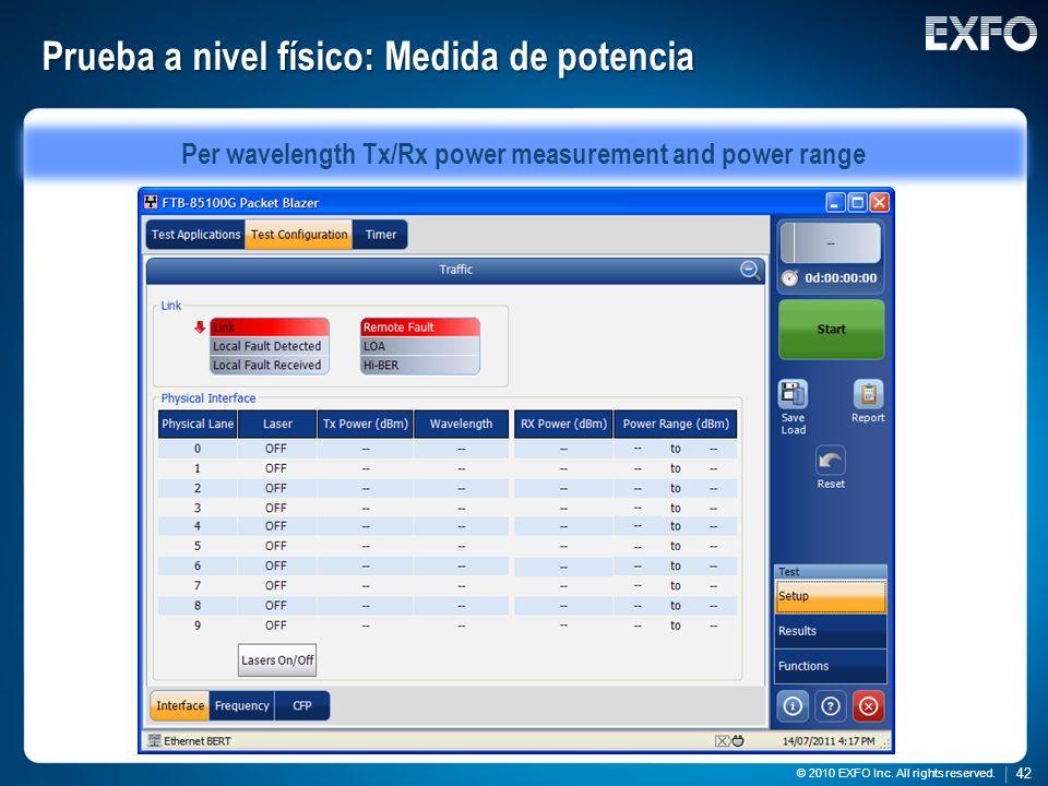 42 © 2010 EXFO Inc. All rights reserved. 42 © 2010 EXFO Inc. All rights reserved. Prueba a nivel físico: Medida de potencia Per wavelength Tx/Rx power