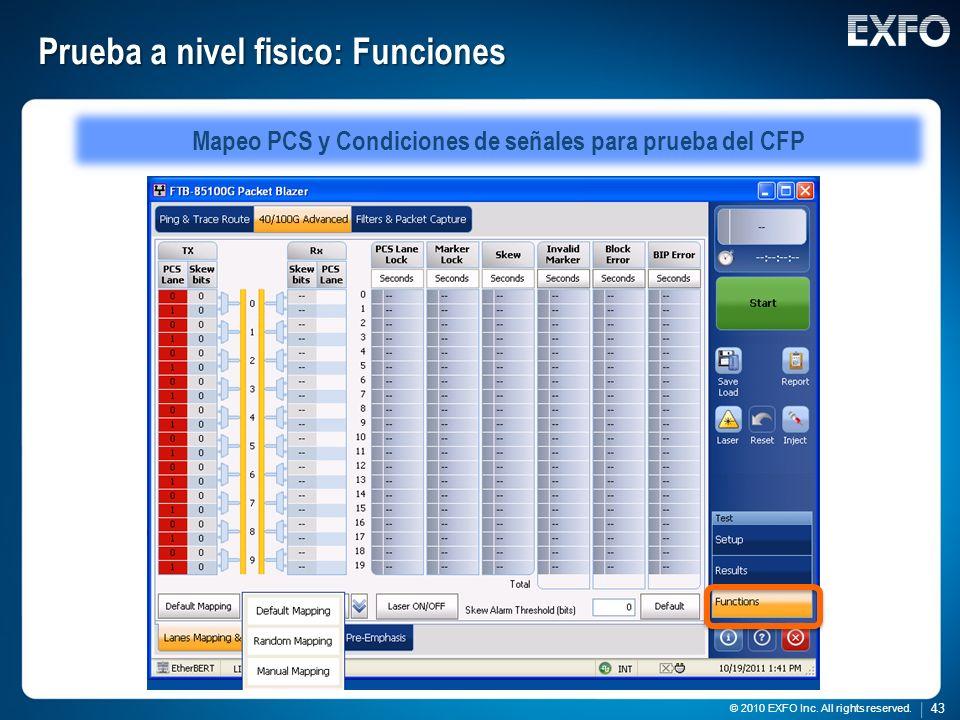 43 © 2010 EXFO Inc. All rights reserved. 43 © 2010 EXFO Inc. All rights reserved. Prueba a nivel fisico: Funciones Mapeo PCS y Condiciones de señales