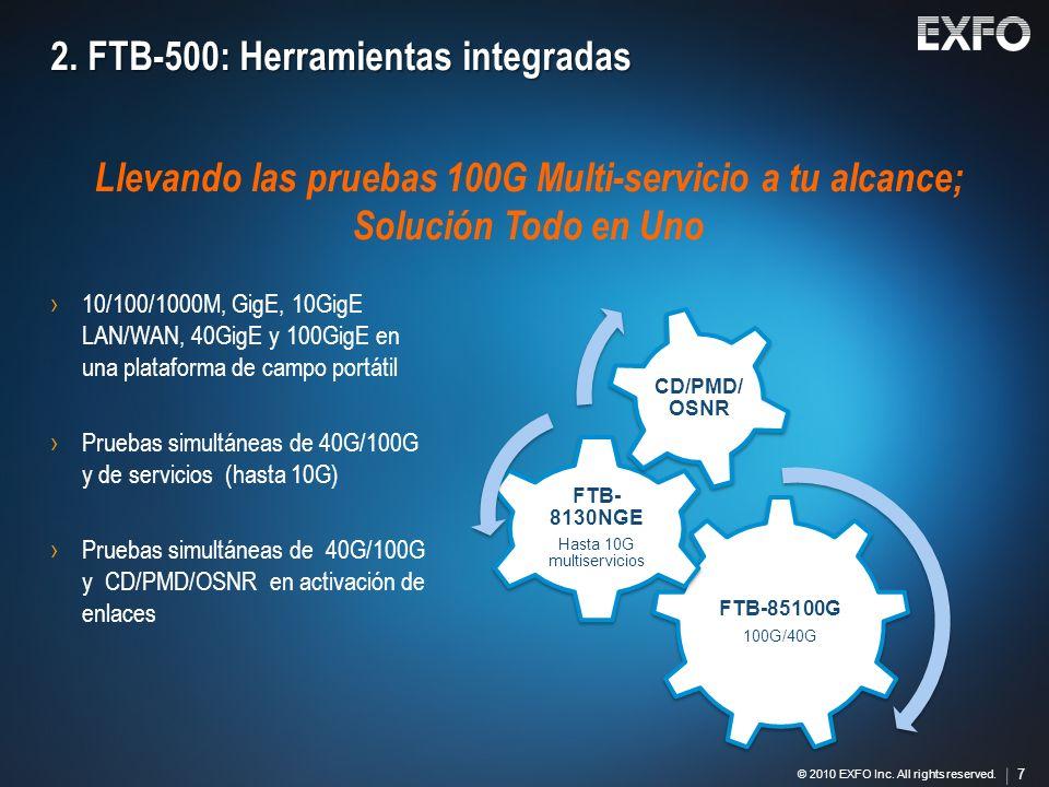 7 © 2010 EXFO Inc. All rights reserved. 7 2. FTB-500: Herramientas integradas FTB-85100G 100G/40G FTB- 8130NGE Hasta 10G multiservicios CD/PMD/ OSNR L