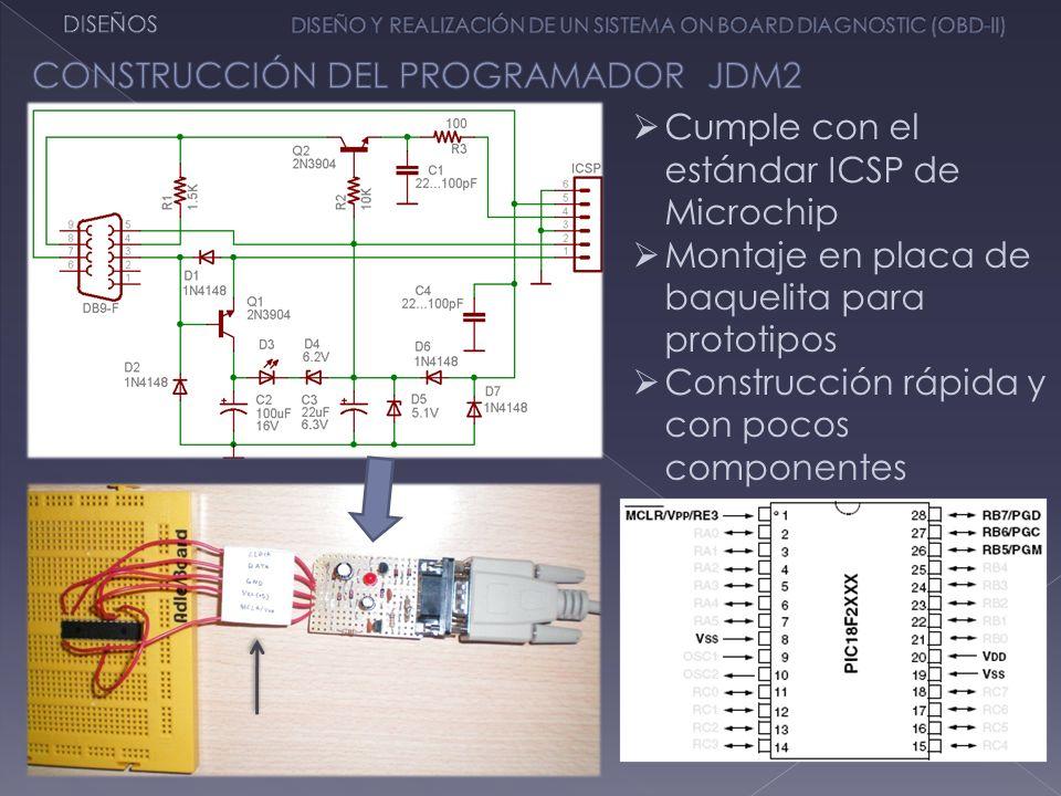 Cumple con el estándar ICSP de Microchip Montaje en placa de baquelita para prototipos Construcción rápida y con pocos componentes