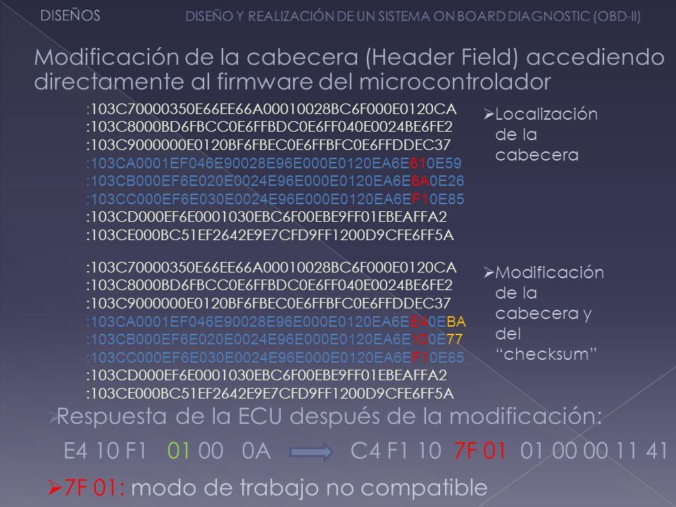 Modificación de la cabecera (Header Field) accediendo directamente al firmware del microcontrolador :103C70000350E66EE66A00010028BC6F000E0120CA :103C8