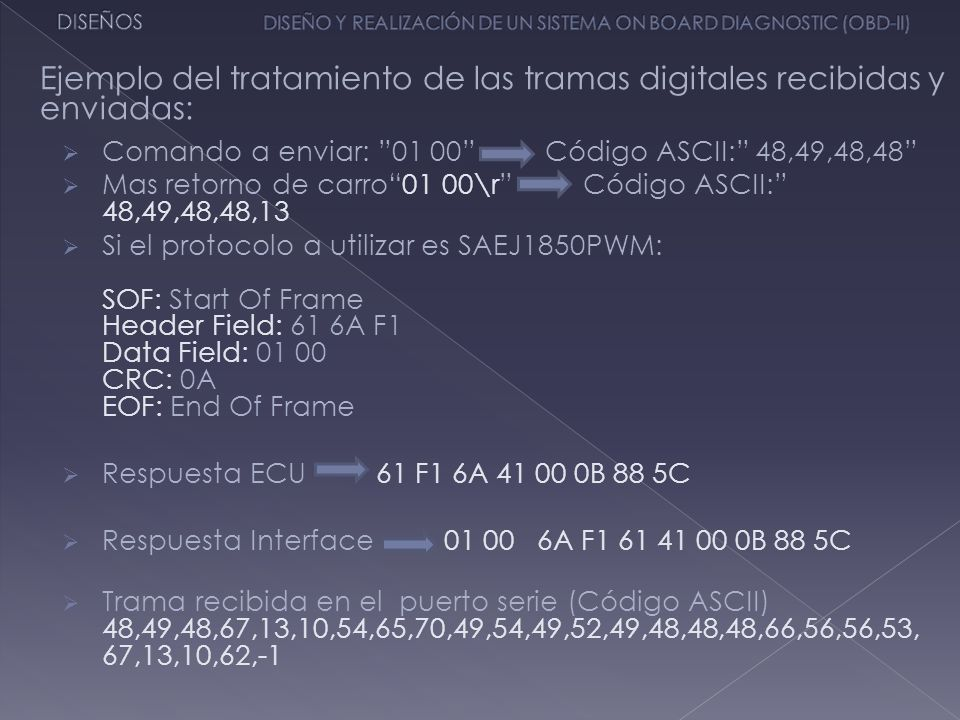 Comando a enviar: 01 00 Código ASCII: 48,49,48,48 Mas retorno de carro01 00\r Código ASCII: 48,49,48,48,13 Si el protocolo a utilizar es SAEJ1850PWM:
