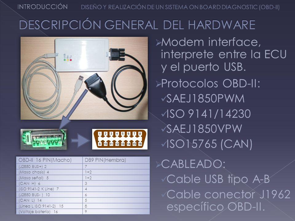 Modem interface, interprete entre la ECU y el puerto USB. Protocolos OBD-II: SAEJ1850PWM ISO 9141/14230 SAEJ1850VPW ISO15765 (CAN) CABLEADO: Cable USB