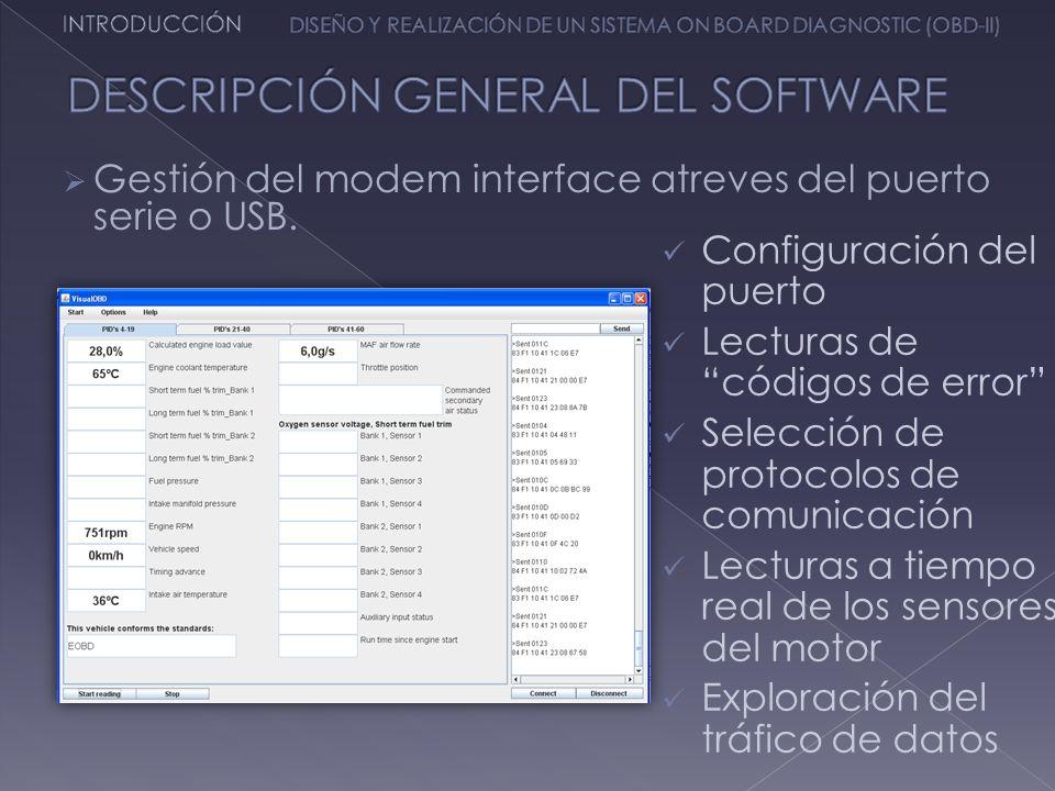 Configuración del puerto Lecturas de códigos de error Selección de protocolos de comunicación Lecturas a tiempo real de los sensores del motor Explora