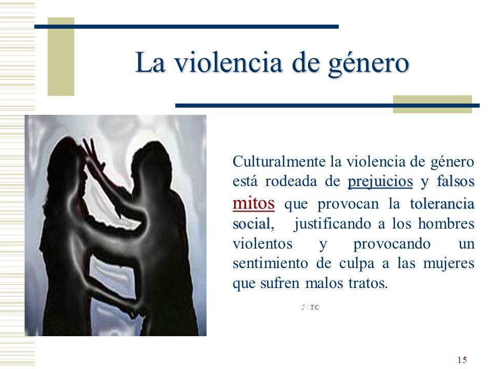 15 La violencia de género prejuicios y falsos mitos tolerancia social Culturalmente la violencia de género está rodeada de prejuicios y falsos mitos q