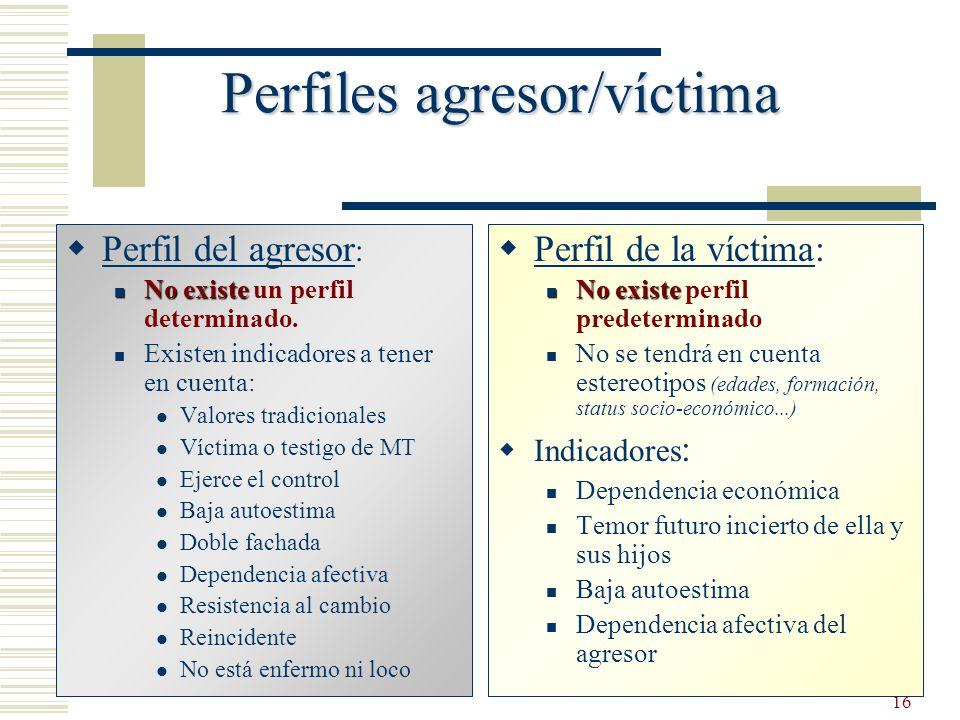 16 Perfiles agresor/víctima Perfil del agresor : No existe No existe un perfil determinado. Existen indicadores a tener en cuenta: Valores tradicional