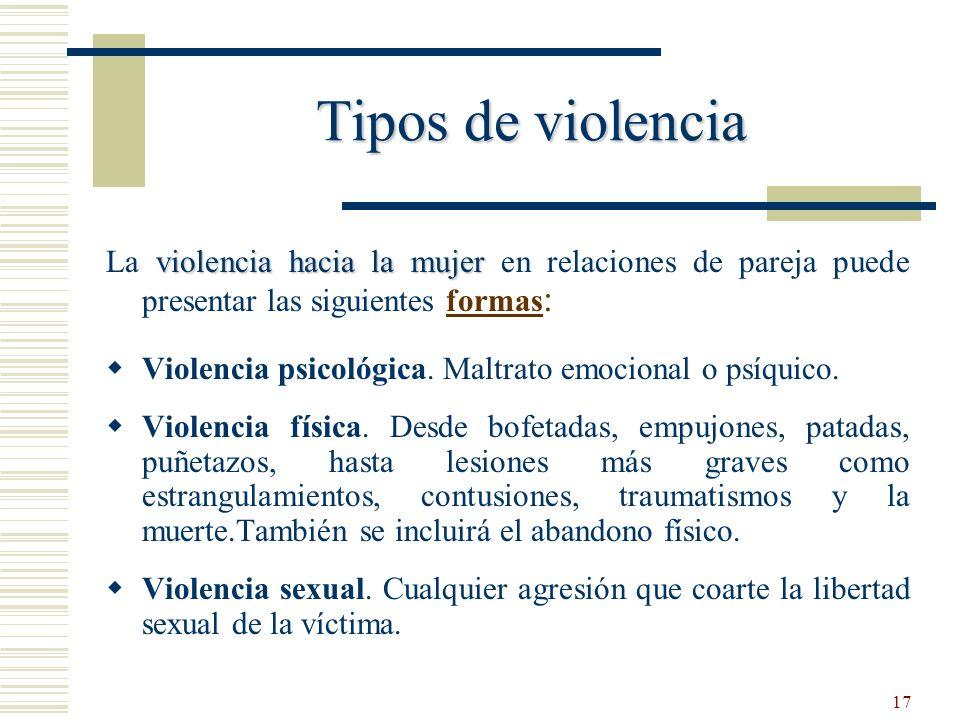17 Tipos de violencia violencia hacia la mujer La violencia hacia la mujer en relaciones de pareja puede presentar las siguientes formas : Violencia p