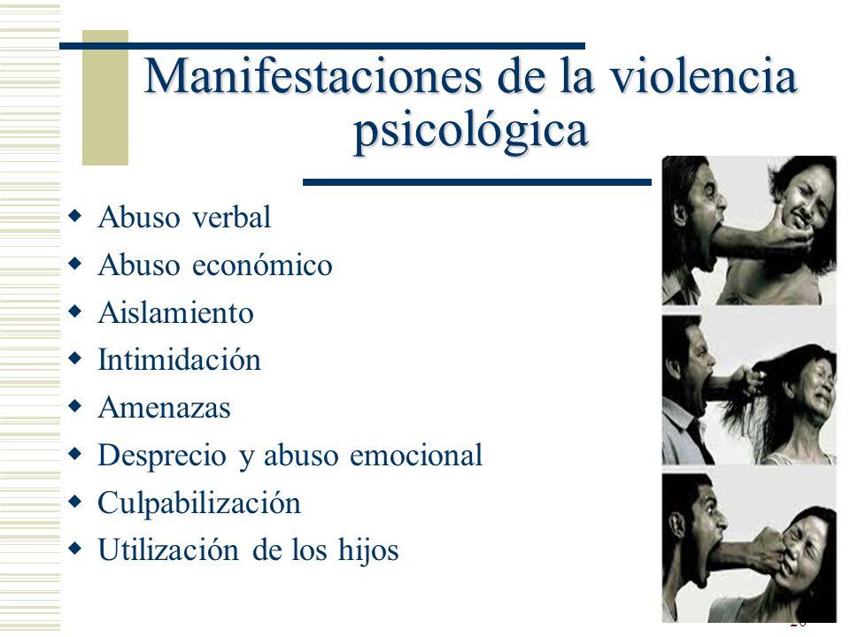 20 Manifestaciones de la violencia psicológica Abuso verbal Abuso económico Aislamiento Intimidación Amenazas Desprecio y abuso emocional Culpabilizac