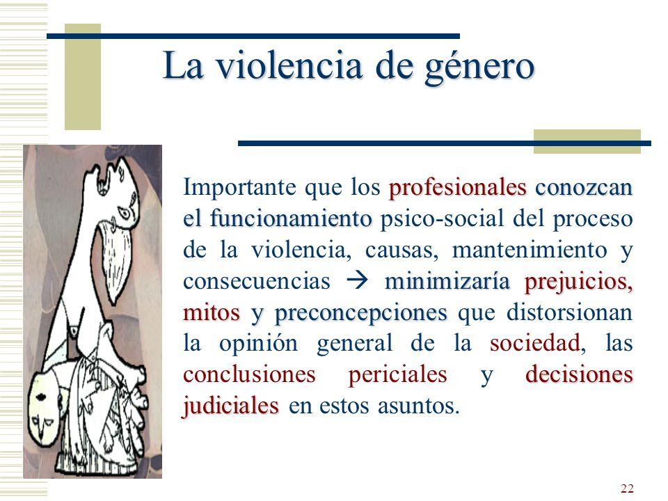 22 La violencia de género profesionales conozcan el funcionamiento minimizaría prejuicios, mitos y preconcepciones decisiones judiciales Importante qu