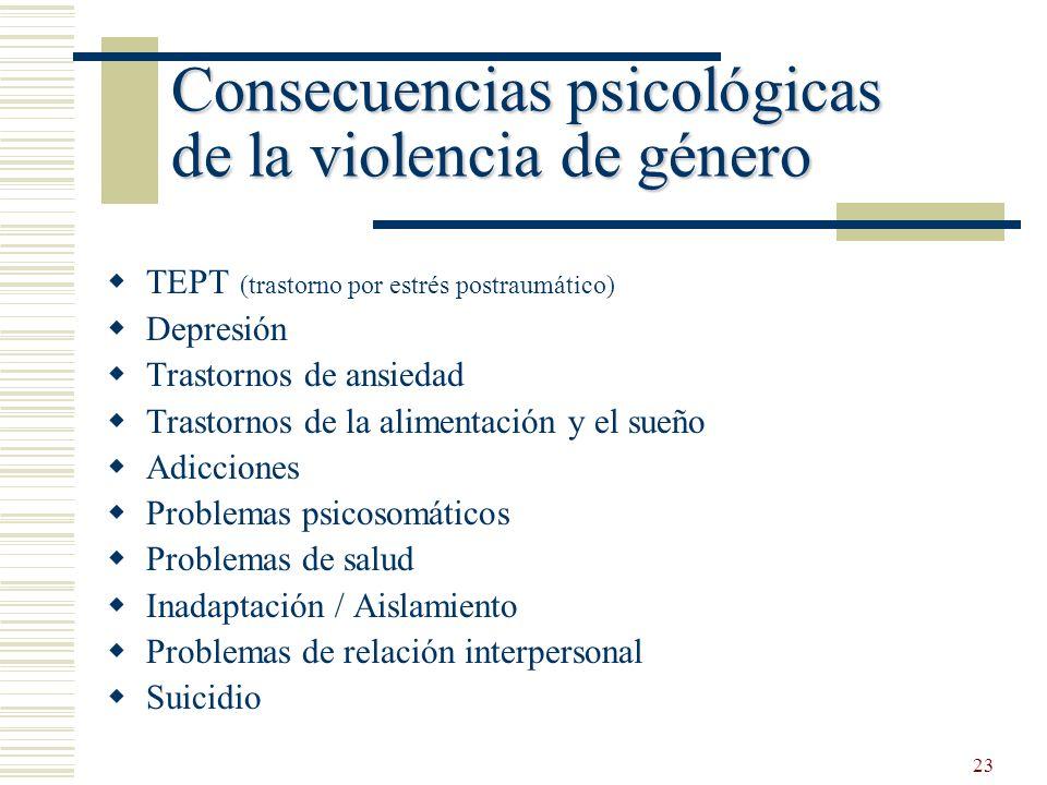 23 Consecuencias psicológicas de la violencia de género Consecuencias psicológicas de la violencia de género TEPT (trastorno por estrés postraumático)