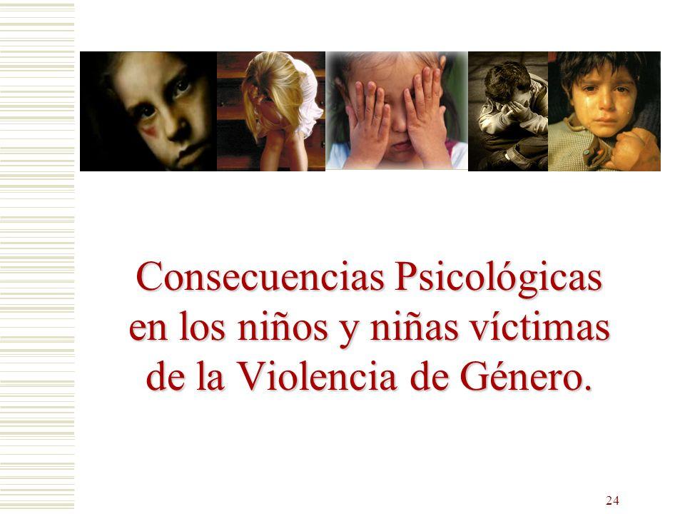 24 Consecuencias Psicológicas en los niños y niñas víctimas de la Violencia de Género.