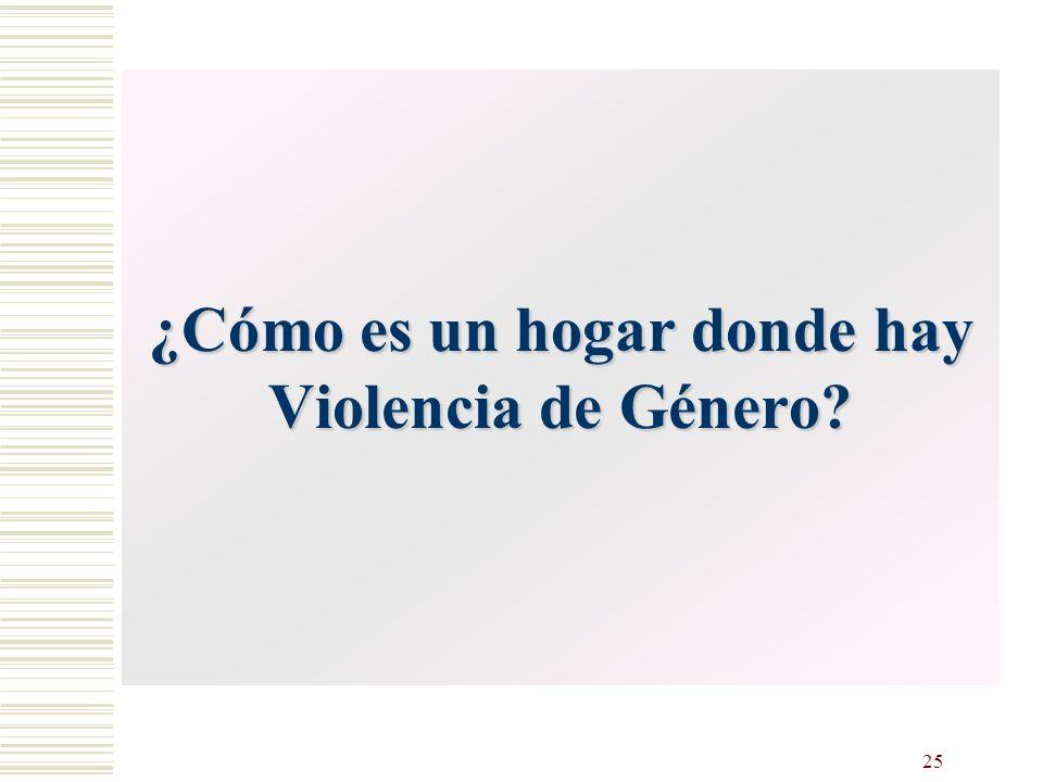25 Violencia de Género. Consecuencias los niños y niñas ¿Cómo es un hogar donde hay Violencia de Género?