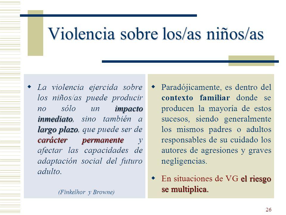 26 Violencia sobre los/as niños/as impacto inmediato largo plazo carácter permanente La violencia ejercida sobre los niños/as puede producir no sólo u