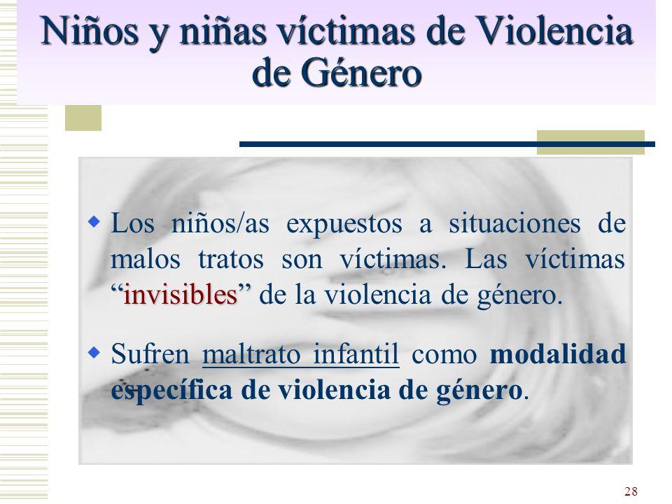 28 Niños y niñas víctimas de Violencia de Género invisibles Los niños/as expuestos a situaciones de malos tratos son víctimas. Las víctimasinvisibles