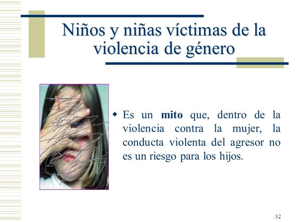 32 Es un mito que, dentro de la violencia contra la mujer, la conducta violenta del agresor no es un riesgo para los hijos. Niños y niñas víctimas de