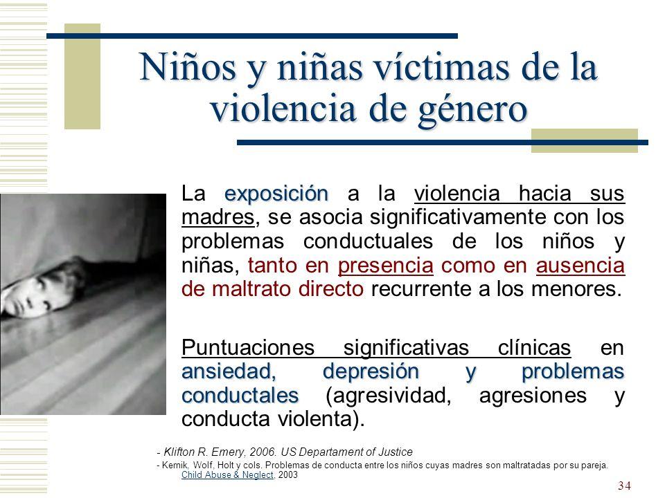 34 exposición La exposición a la violencia hacia sus madres, se asocia significativamente con los problemas conductuales de los niños y niñas, tanto e