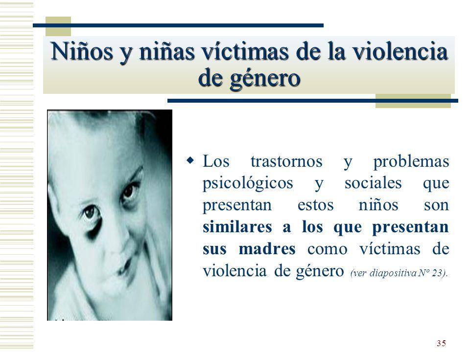 35 Los trastornos y problemas psicológicos y sociales que presentan estos niños son similares a los que presentan sus madres como víctimas de violenci