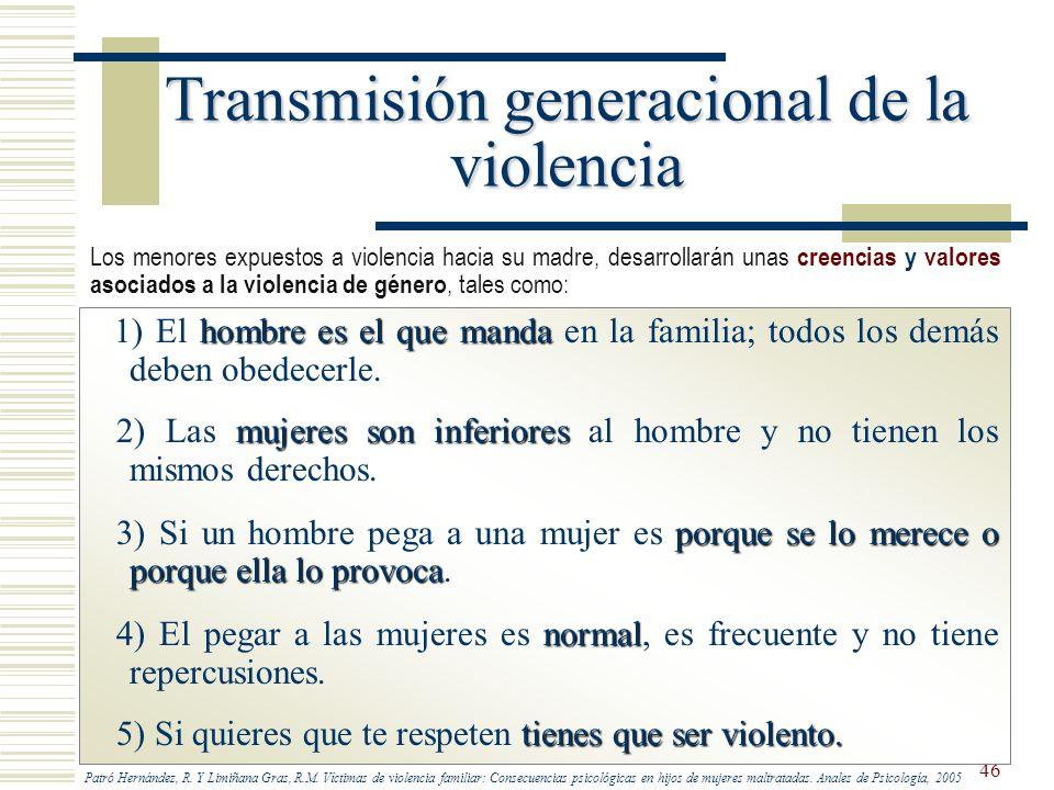 46 Transmisión generacional de la violencia hombre es el que manda 1) El hombre es el que manda en la familia; todos los demás deben obedecerle. mujer