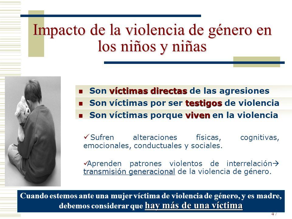 47 Impacto de la violencia de género en los niños y niñas víctimas directas Son víctimas directas de las agresiones testigos Son víctimas por ser test