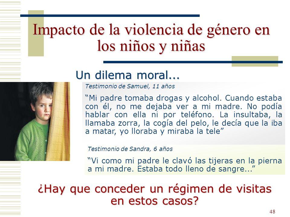 48 Impacto de la violencia de género en los niños y niñas ¿Hay que conceder un régimen de visitas en estos casos? Testimonio de Samuel, 11 años Mi pad