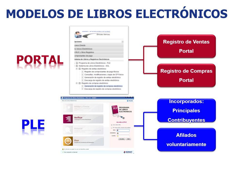 MODELOS DE LIBROS ELECTRÓNICOS Registro de Ventas Portal Registro de Ventas Portal Registro de Compras Portal Registro de Compras Portal Incorporados: