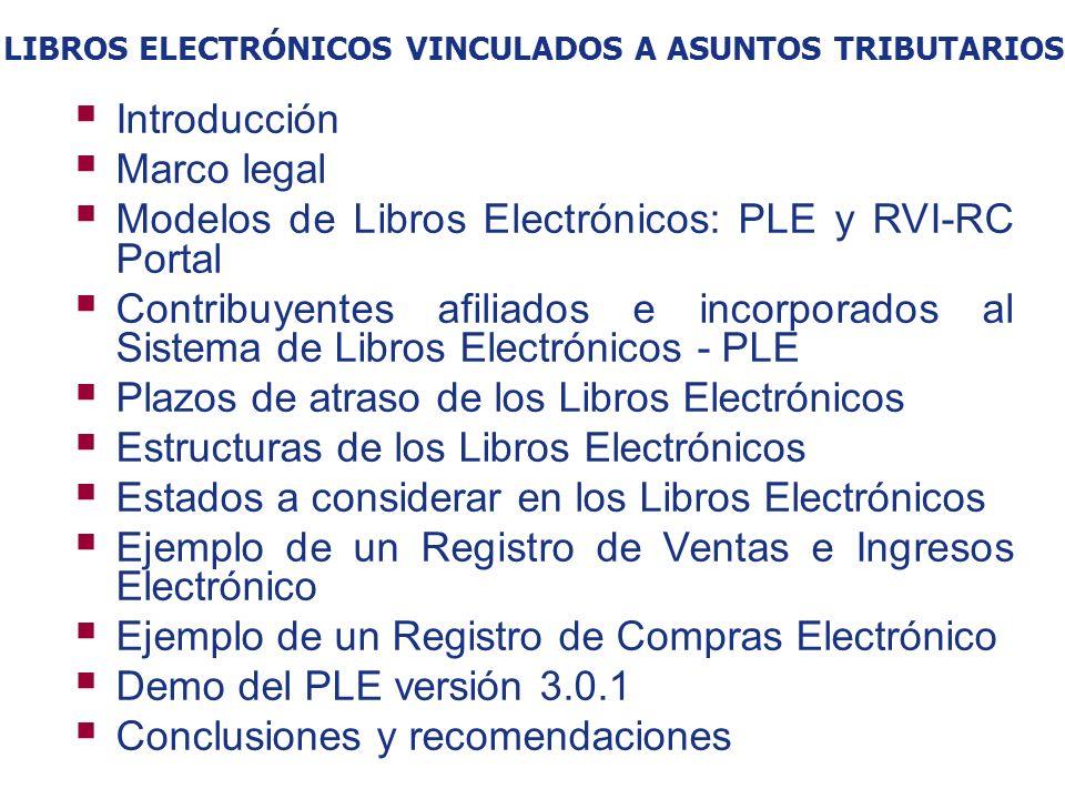 LIBROS ELECTRÓNICOS VINCULADOS A ASUNTOS TRIBUTARIOS Introducción Marco legal Modelos de Libros Electrónicos: PLE y RVI-RC Portal Contribuyentes afili