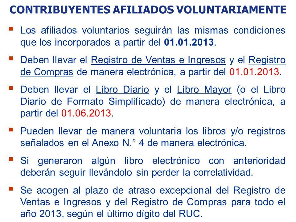 CONTRIBUYENTES AFILIADOS VOLUNTARIAMENTE Los afiliados voluntarios seguirán las mismas condiciones que los incorporados a partir del 01.01.2013. Deben