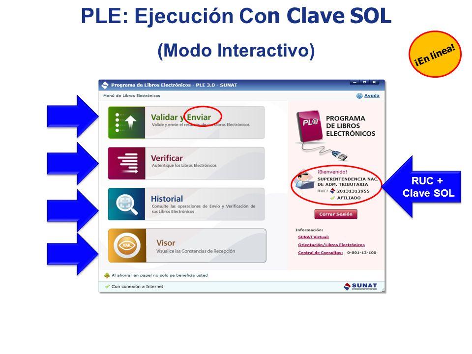 ¡En línea! PLE: Ejecución Co n Clave SOL (Modo Interactivo) RUC + Clave SOL