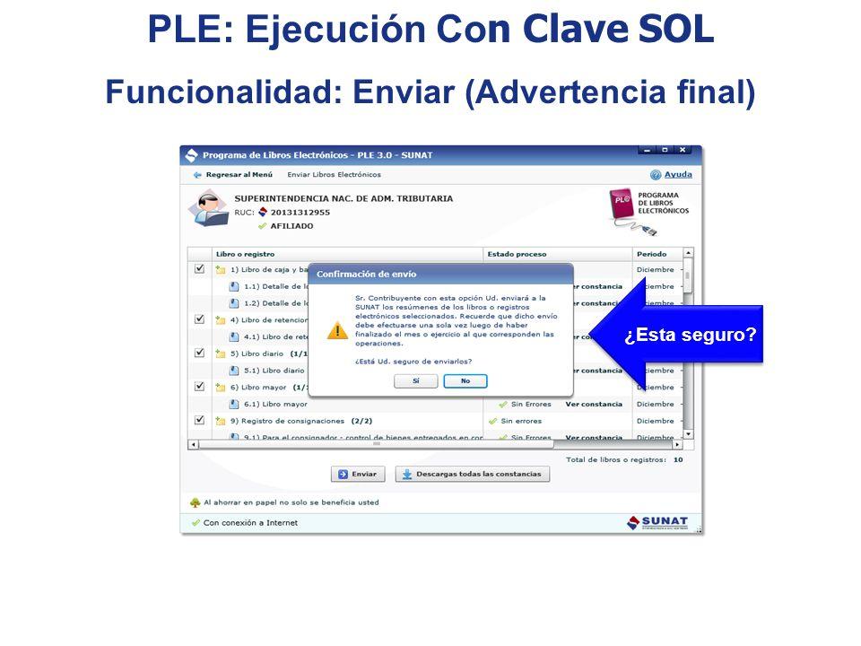¿Esta seguro? PLE: Ejecución Co n Clave SOL Funcionalidad: Enviar (Advertencia final)