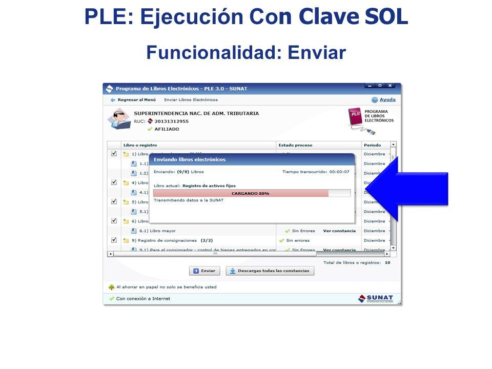 PLE: Ejecución Co n Clave SOL Funcionalidad: Enviar